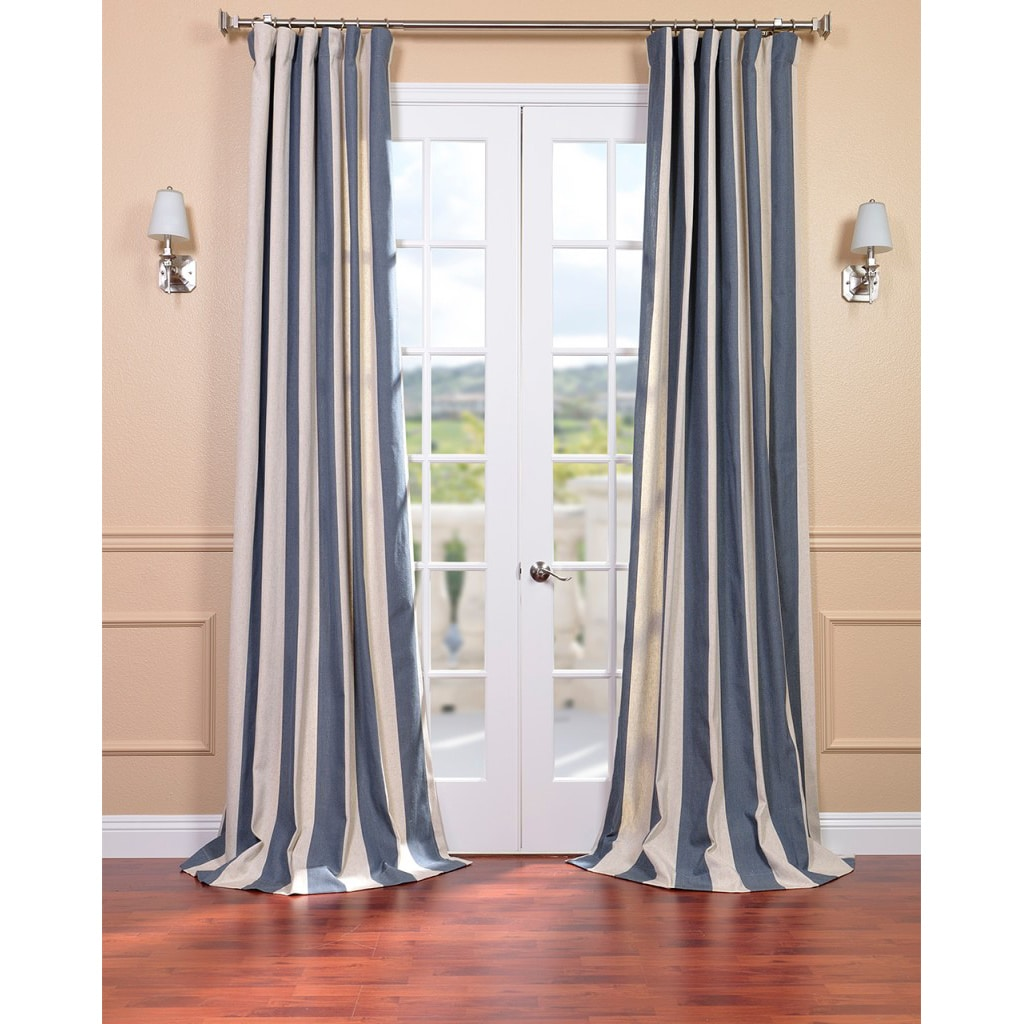 Veranda Navy Stripe Linen Blend Curtain Panel