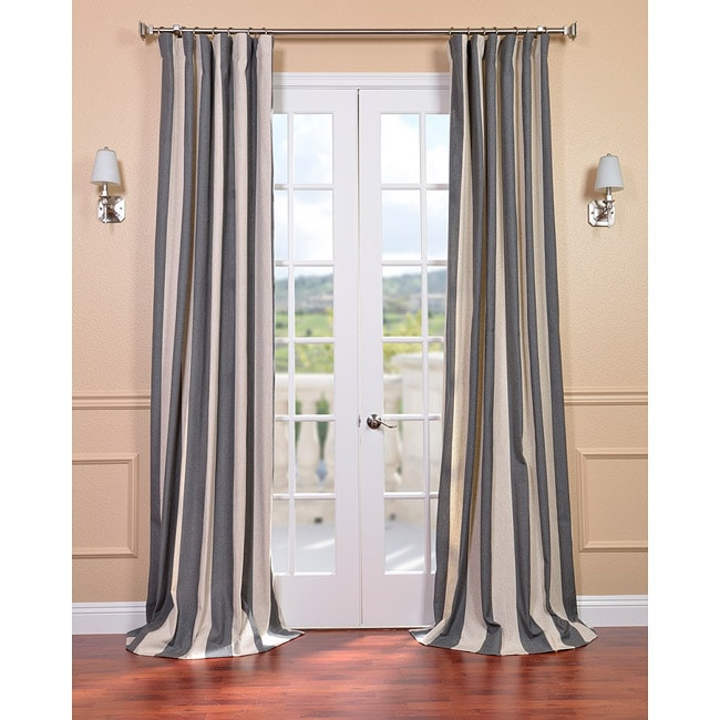 Linen Stripe Kitchen Curtains: Exclusive Fabrics Veranda Charcoal Stripe Linen Blend