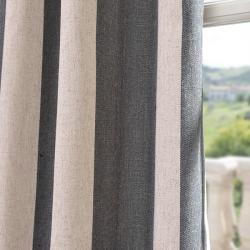 Veranda Charcoal Stripe Linen Blend Curtain Panel