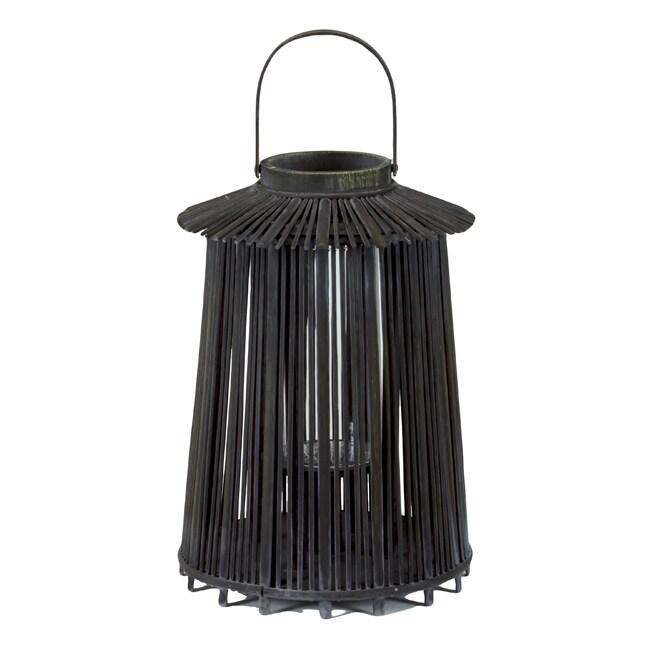 Wooden Medium Black Lantern