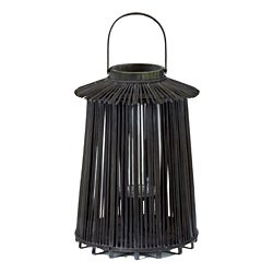 Wooden Medium Black Lantern