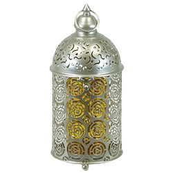 Metal Tabletop Lantern With Amber Glass