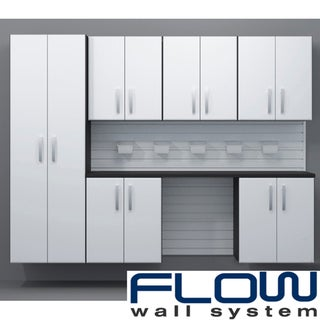 Flow Wall System 7 Piece White Cabinet Set
