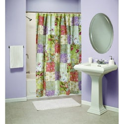 Blooming Prairie Patchwork Cotton Shower Curtain