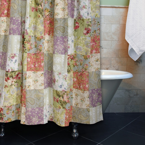 Greenland Home Fashions Blooming Prairie Patchwork Cotton Shower Curtain