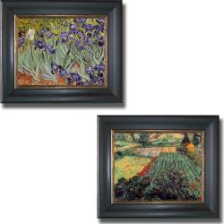Vincent Van Gogh 'Iris Garden and Field of Poppies' Framed 2-piece Canvas Art Set