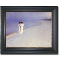 Peder Kroyer 'Summer Afternoon at Skagen Beach' Framed Canvas Art