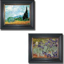 Vincent Van Gogh 'Wheatfield and Irises' Framed 2-piece Canvas Art Set