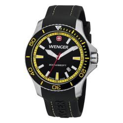 Wenger Men's Sea Force Black Dial Yellow Accent Rubber Band Diver Watch - 0641.101