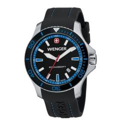 Wenger Men's Sea Force Black Dial Blue Accent Rubber Band Diver Watch - 0641.104