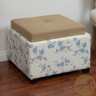 Christopher Knight Home Andrea Blue Flower Fabric Tray-top Storage Ottoman