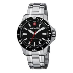 Wenger Men's Sea Force Black Dial White Accent St. Steel Band Diver Watch - 0641.105