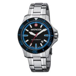 Wenger Men's Sea Force Black Dial Blue Accent St. Steel Band Diver Watch - 0641.106