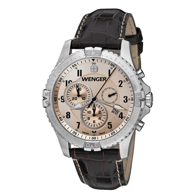 Wenger Men's Squadron Copper Dial Brown Leather Chrono Watch - 77052