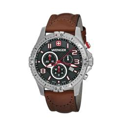 Wenger Men's Squadron Charcoal Dial Brown Leather Chrono Watch - 77051