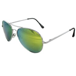 Unixex 30011R-SVRYWMR Metal/ Mirrored Yellow Aviator Sunglasses