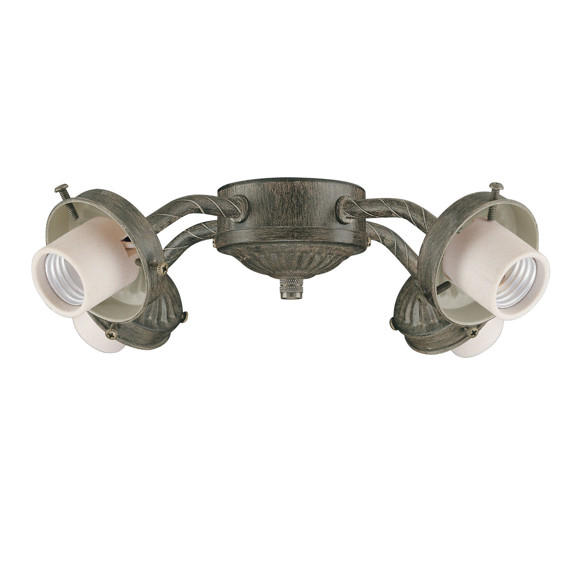 Four Light Aged Pecan Ceiling Fan Light Kit