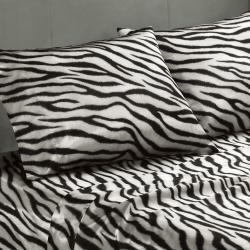 Premier Comfort Zebra Polyester Textured Satin 6-piece King-size Sheet Set