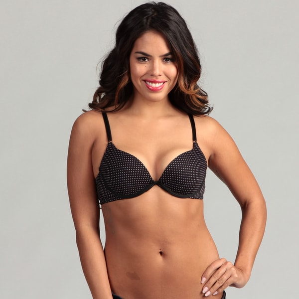 24/7 Frenzy Black/Lilac Polka-dot Underwired Lighly-padded T-shirt Bra