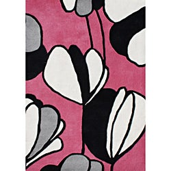 Hand-tufted Alliyah Pink Wool Rug (5' x 8')