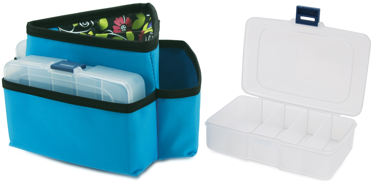 Mackinac Moon Triangle Storage Spinner W/3 Plastic Cases-Blue