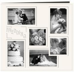 "Collage Frame Sewn Embossed Cover Postbound Album 12""X12""-White/Wedding"