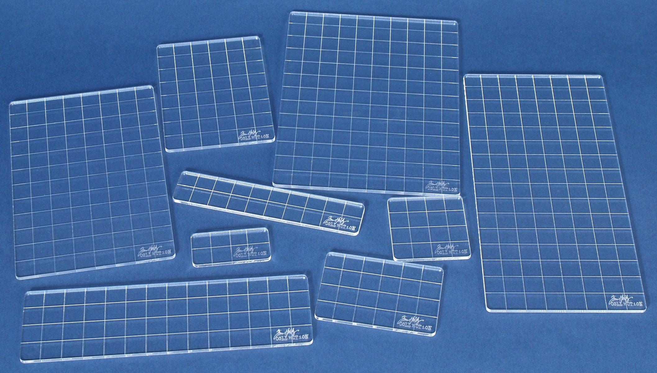 Nine-piece Tim Holtz Collection Clear Acrylic Grid Block Set