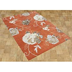 Handmade Alliyah Orange Wool Rug (9' x 12')
