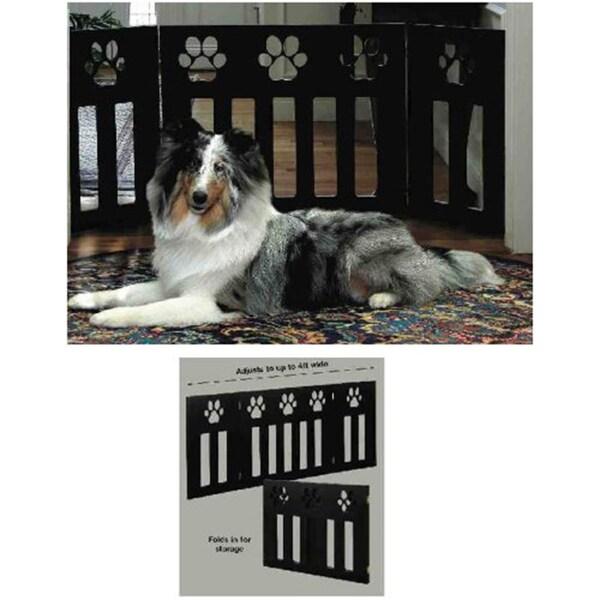 Paw Decor Wooden 3-Section Folding Pet Gate (Black)