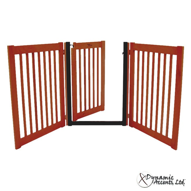32-inch Freestanding 3 Panel Walk-Through Pet Gate - 42124 - Cherry
