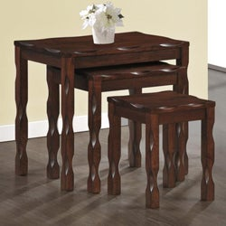 Black Cherry Solid Wood 3 Piece Nesting Table Set