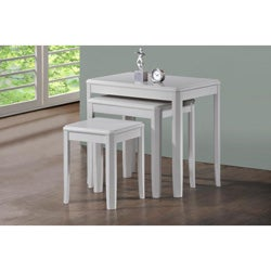Antique White Solid Wood 3-Piece Nesting Table Set