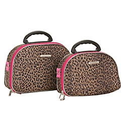 Luca Vergani Pink Leopard 2-piece Beauty Cosmetic Case Set