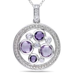 Miadora Sterling Silver Amethyst and Diamond Accent Necklace (H-I, I2-I3)