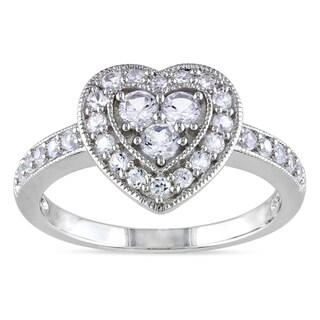M by Miadora Sterling Silver White Sapphire Heart Ring