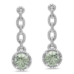 Miadora Sterling Silver Green Amethyst and Diamond Accent Earrings (H-I, I2-I3)