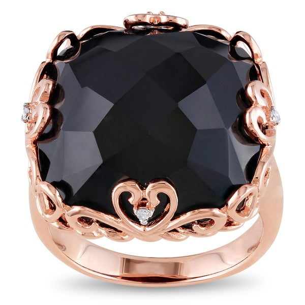 Miadora Pink Rhodium Plated Silver Black Onyx and Diamond Accent Ring (H-I, I2-I3)