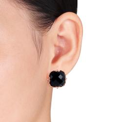 Pink Rhodium Plated Silver Black Onyx and Diamond Accent Earrings (H-I, I2-I3)