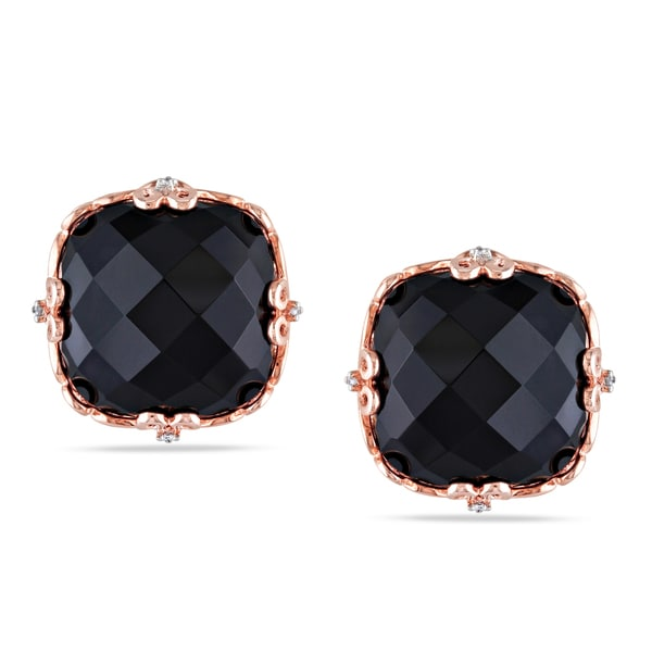 Miadora Pink Rhodium Plated Silver Black Onyx and Diamond Accent Earrings (H-I, I2-I3)