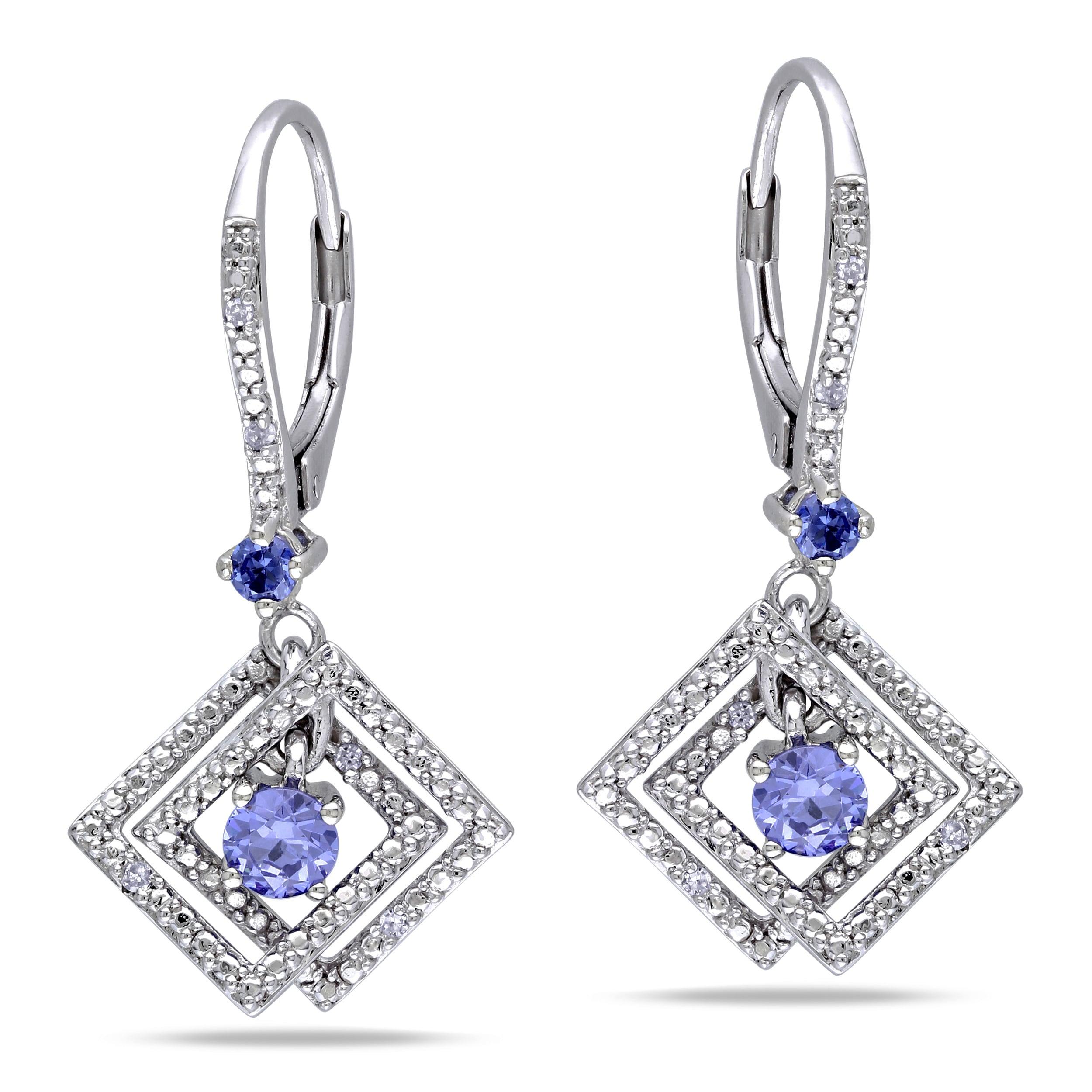 Miadora Sterling Silver Tanzanite and Diamond Accent Earrings (G-H, I1-I2)