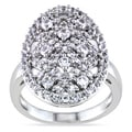 Miadora Highly Polished Sterling Silver White Sapphire Ring