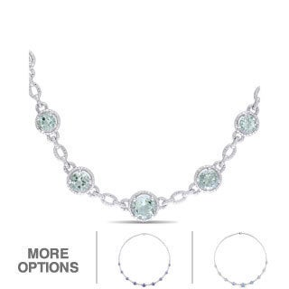 Miadora Sterling Silver Green Amethyst and Diamond Accent Necklace (H-I, I2-I3)