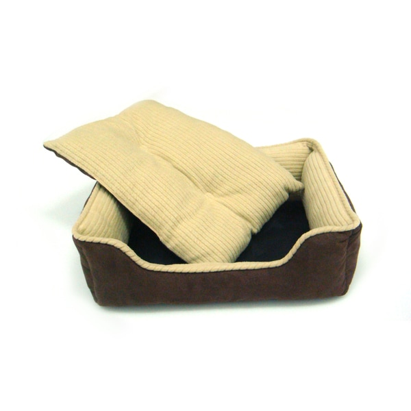 Gallery Fleece and Twill Pet Bed with Removable Crate Mat/Pad