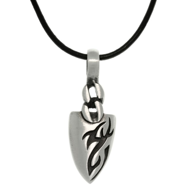 Carolina Glamour Collection Pewter Men's Tatoo Design Arrowhead Black Leather Cord Necklace