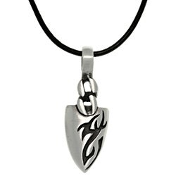 CGC Pewter Men's Tatoo Design Arrowhead Black Leather Cord Necklace
