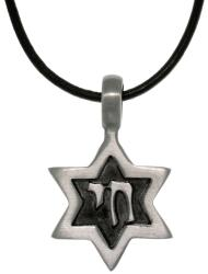 CGC Antiqued-pewter Star of David Leather Cord Pendant Necklace
