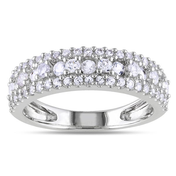 Miadora Sterling Silver White Sapphire Anniversary Ring