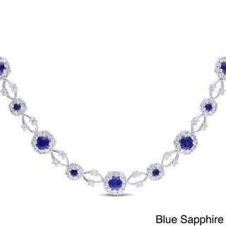 Miadora Sterling Silver Blue and White Sapphire Flower Necklace