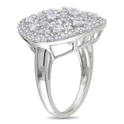 Miadora Sterling Silver White Sapphire Cocktail-cluster Ring