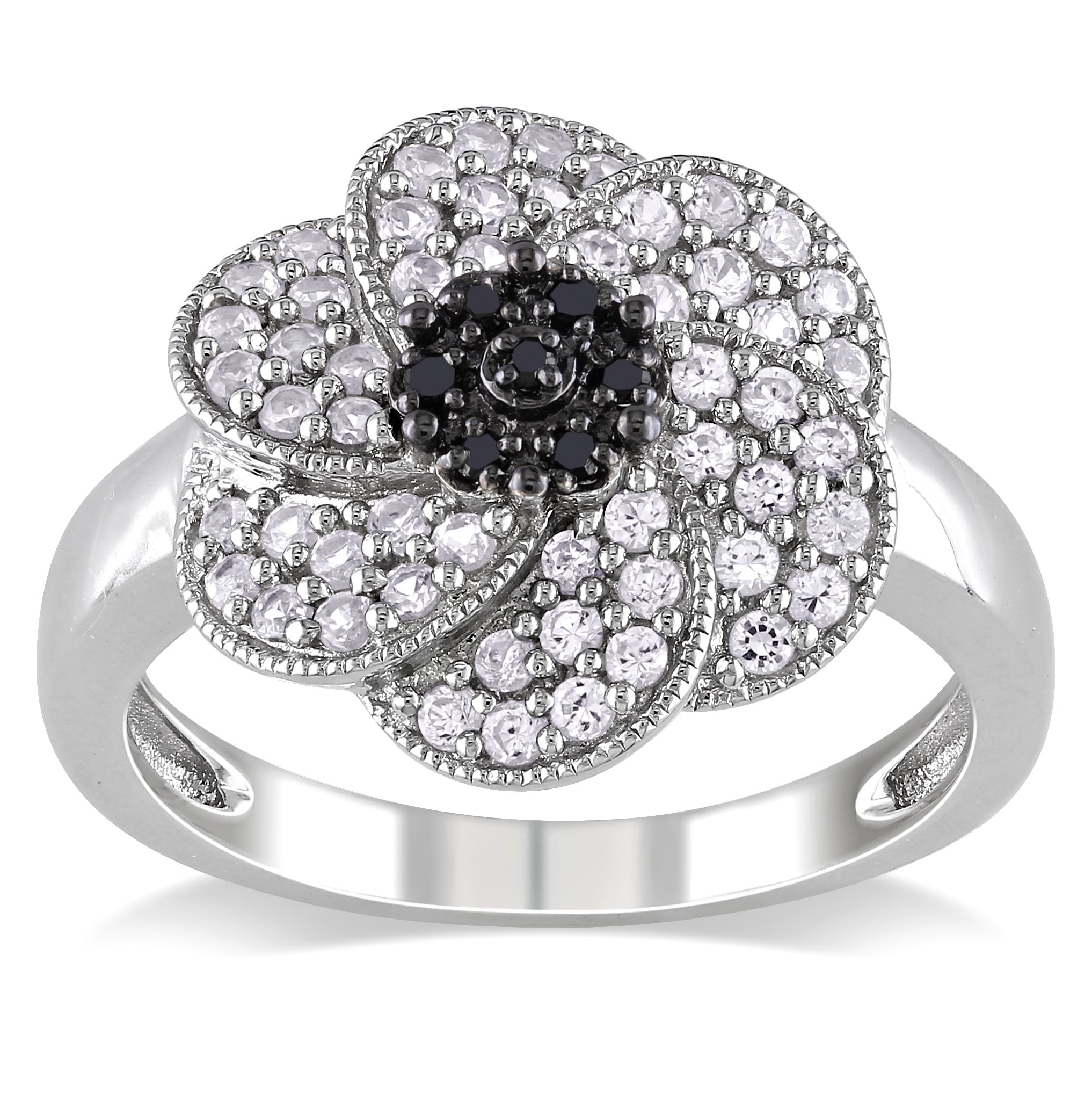 M by Miadora Sterling Silver White Sapphire and Black Diamond Flower Ring